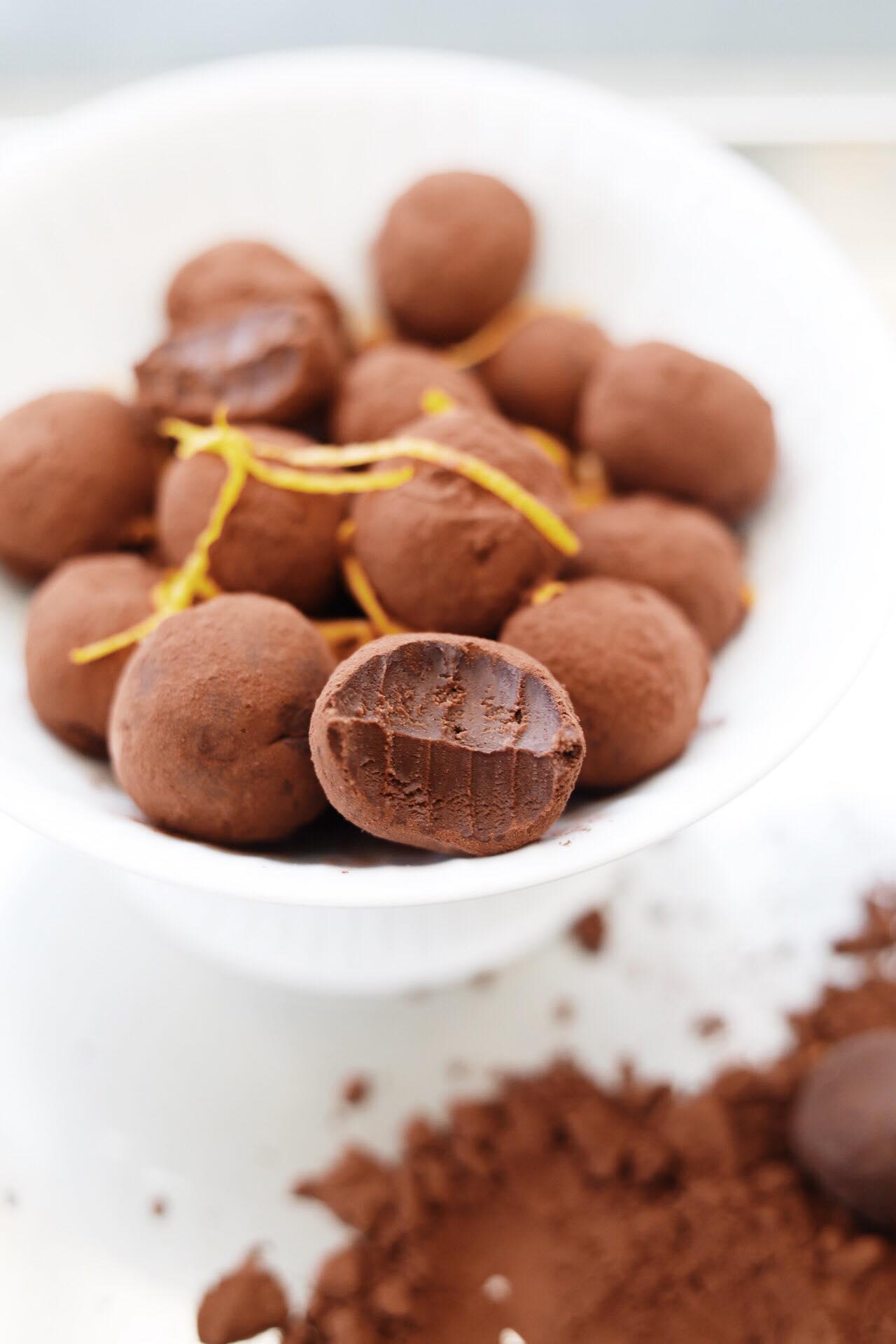 Trøfler med mørk chokolade og appelsin