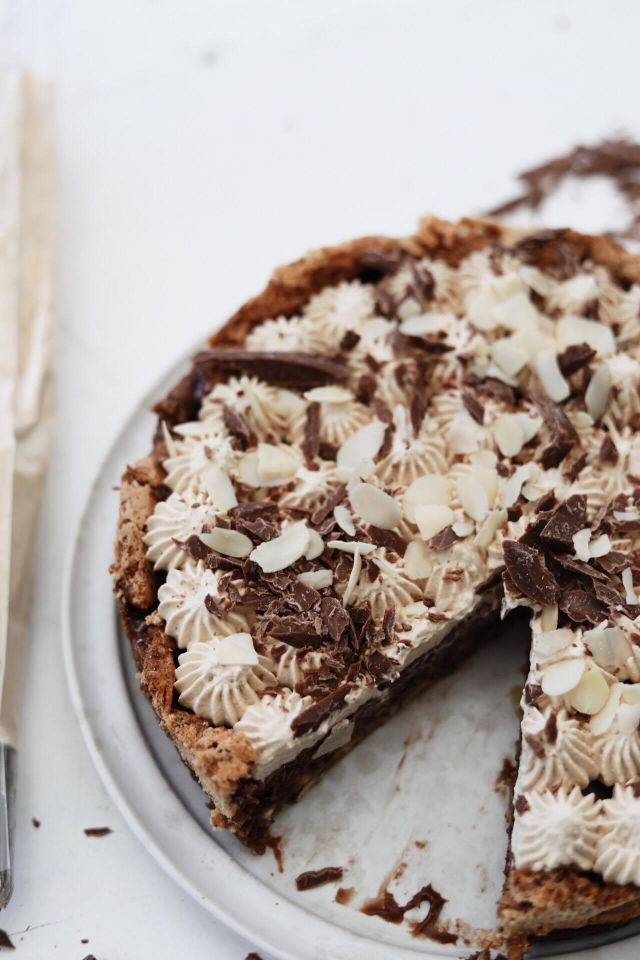 Nøddebund med chokoladeganache og kaffeskum