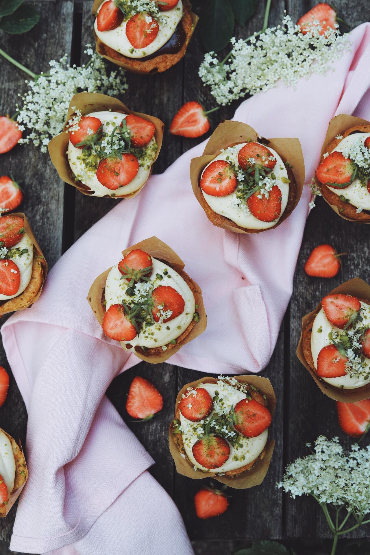 Jordbærtærte muffins
