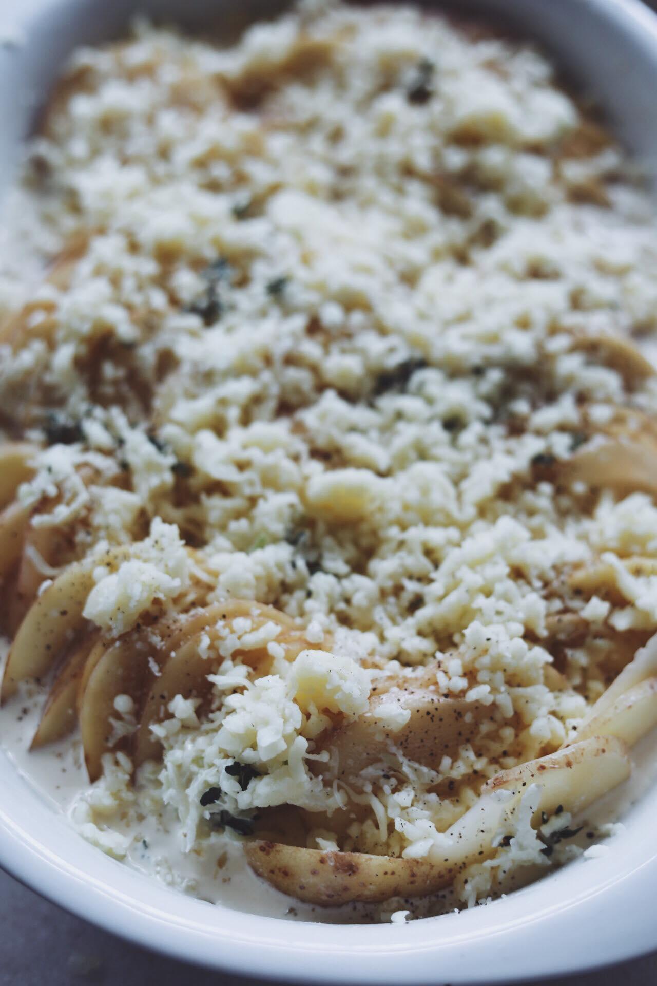 Flødekartofler med ost og timian