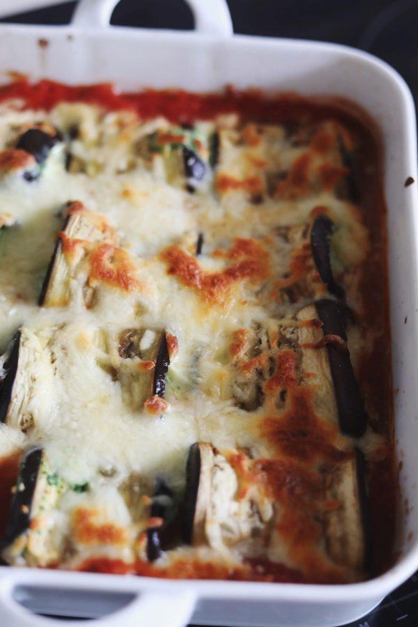 Cannelloni med aubergine (aubergineruller med ricottafyld)