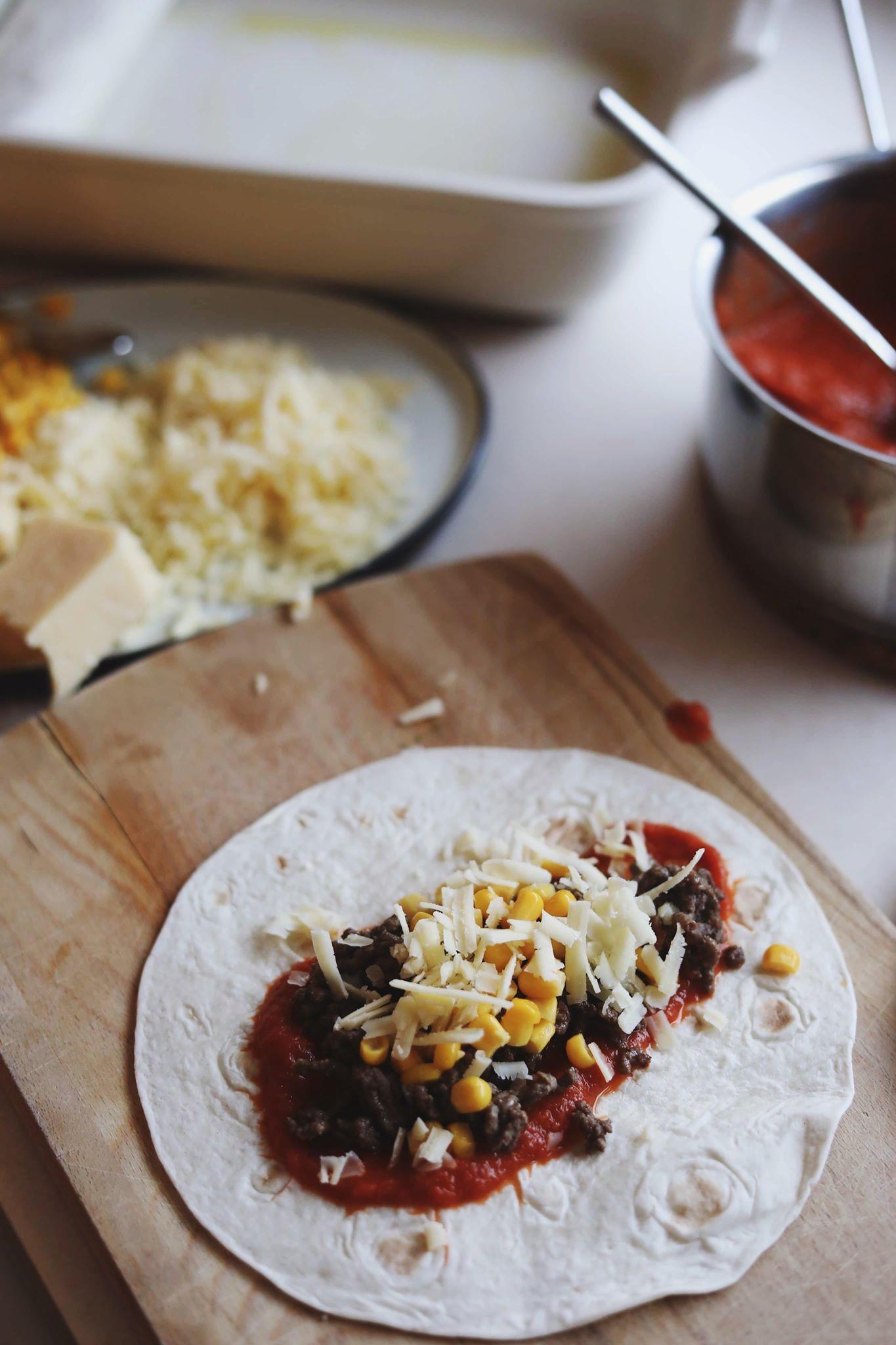 Enchiladas med kødsauce