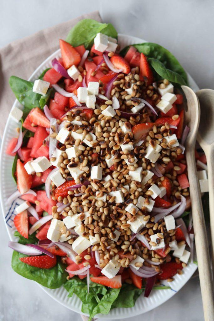 Vandmelonsalat med feta og spinat
