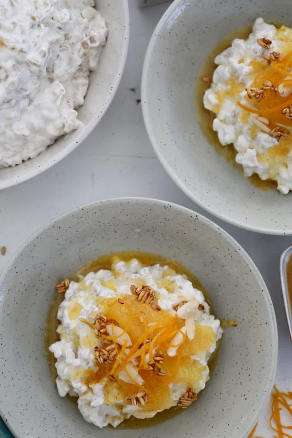 Vegansk risalamande med appelsinsirup