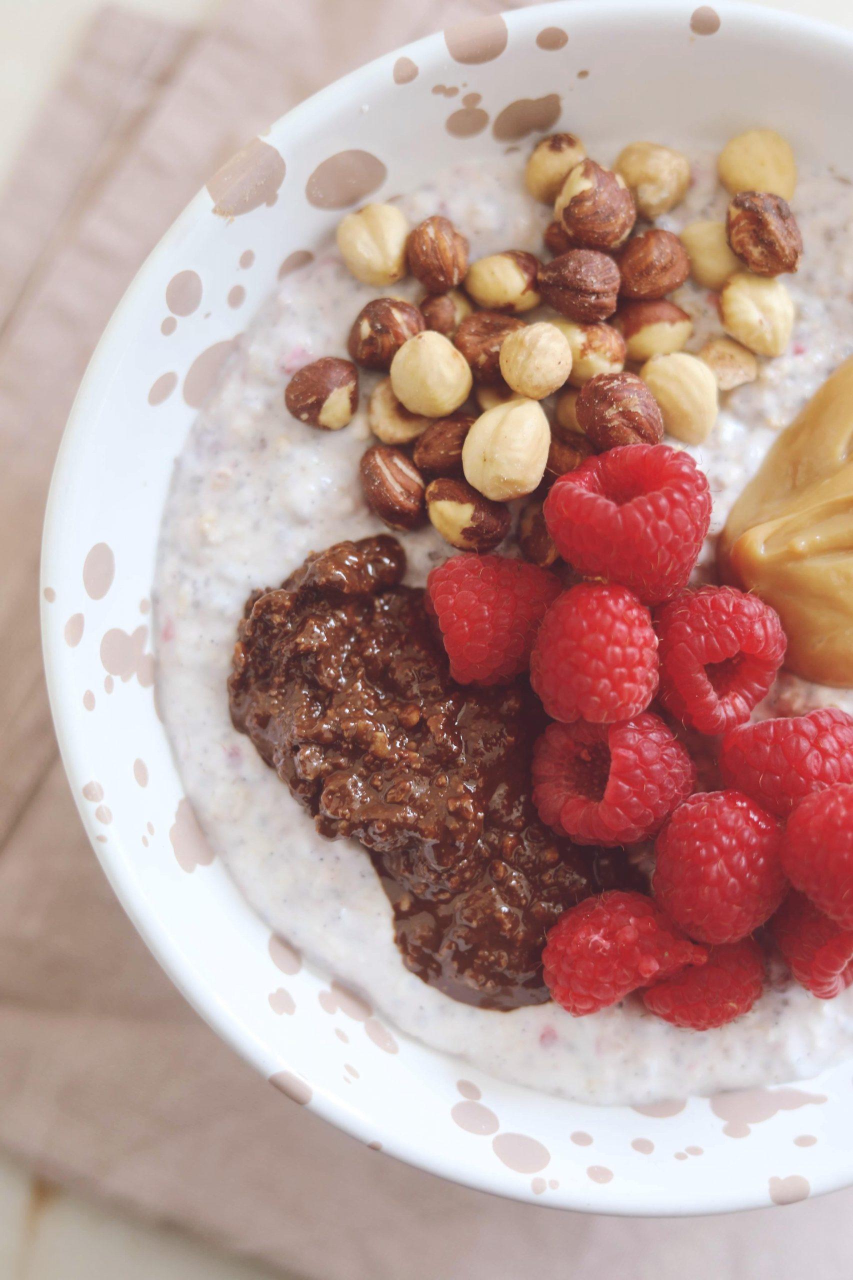Overnight oats med hindbær