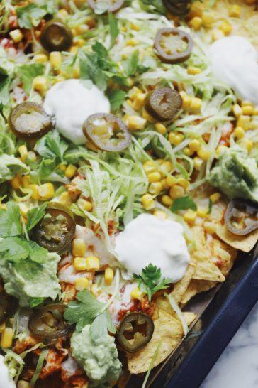 Loaded nachos med pulled chicken