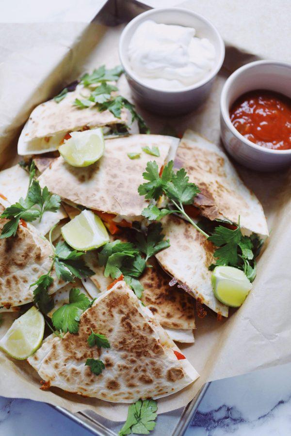 Quesadillas med kylling og spinat